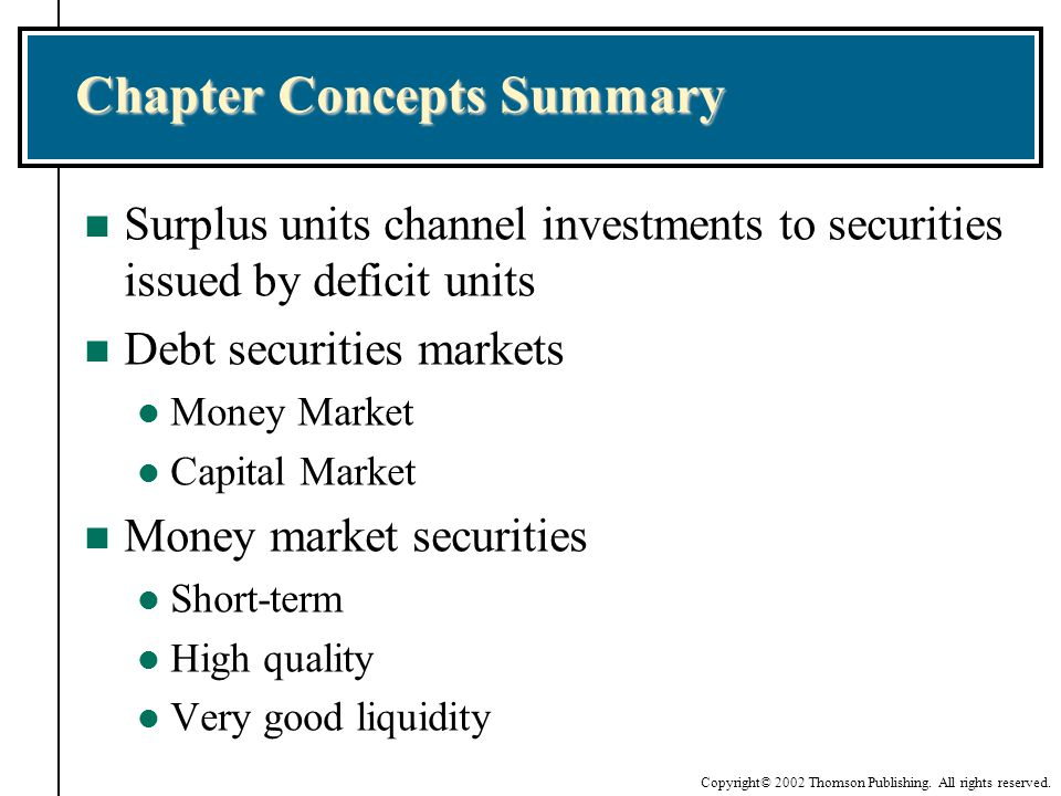 Copyright© 2002 Thomson Publishing. All rights reserved. Chapter Concepts Summary n Surplus units channel investments to securities issued by deficit