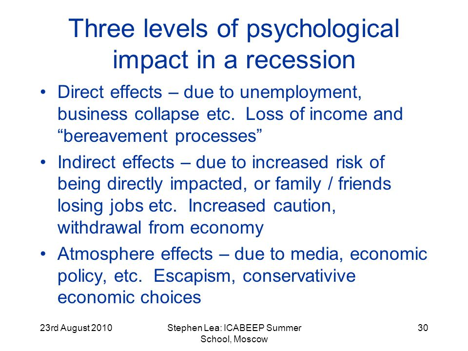 23rd August 2010Stephen Lea: ICABEEP Summer School, Moscow 30 Three levels of psychological impact in a recession Direct effects – due to unemployment, business collapse etc.