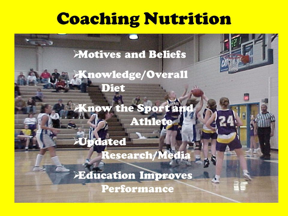 Coaching Nutrition Motives and Beliefs Knowledge/Overall Diet Know the Sport and Athlete Updated Research/Media Education Improves Performance