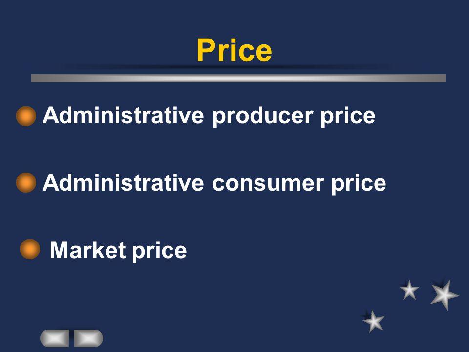 Price Administrative producer price Administrative consumer price Market price