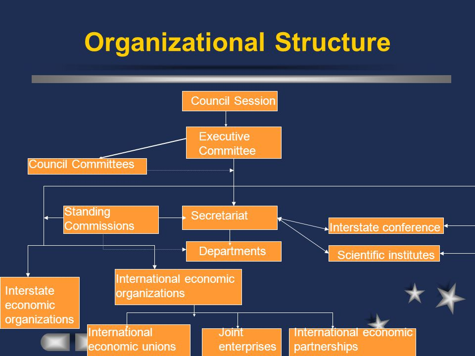 Organizational Structure Council Session Executive Committee Council Committees Secretariat Standing Commissions Scientific institutes Departments Interstate economic organizations International economic organizations International economic unions Joint enterprises International economic partnerships Interstate conference