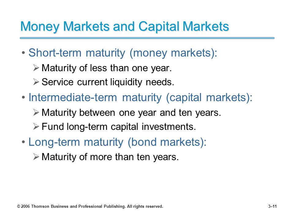 © 2006 Thomson Business and Professional Publishing. All rights reserved.3–11 Money Markets and Capital Markets Short-term maturity (money markets): M