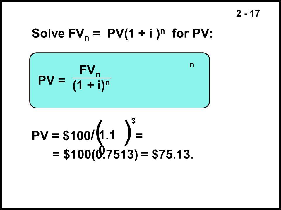 2 - 17 PV = Solve FV n = PV(1 + i ) n for PV: PV = $100 / ( ) = = $100(0.7513) = $75.13. FV n (1 + i) n n 1.1 0 3