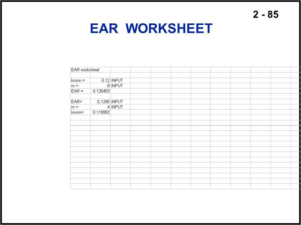 2 - 85 EAR WORKSHEET