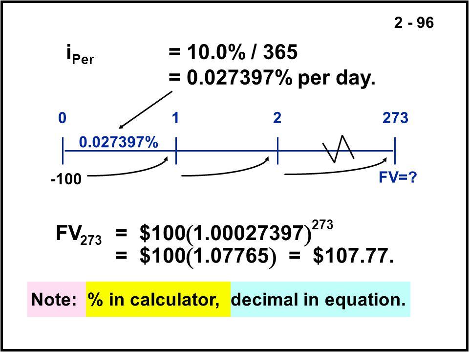 2 - 96 i Per = 10.0% / 365 = 0.027397% per day. FV=? 012273 0.027397% -100 Note: % in calculator, decimal in equation. FV = $1001.00027397 = $1001.077