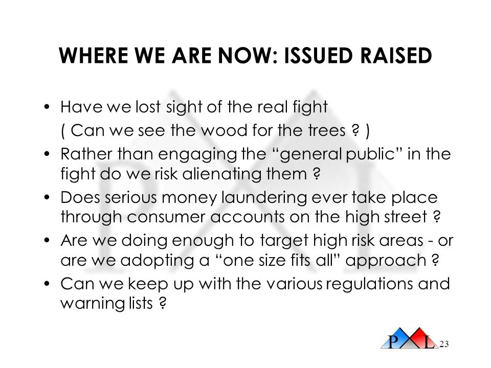 23 WHERE WE ARE NOW: ISSUED RAISED Have we lost sight of the real fight ( Can we see the wood for the trees ? ) Rather than engaging the general publi