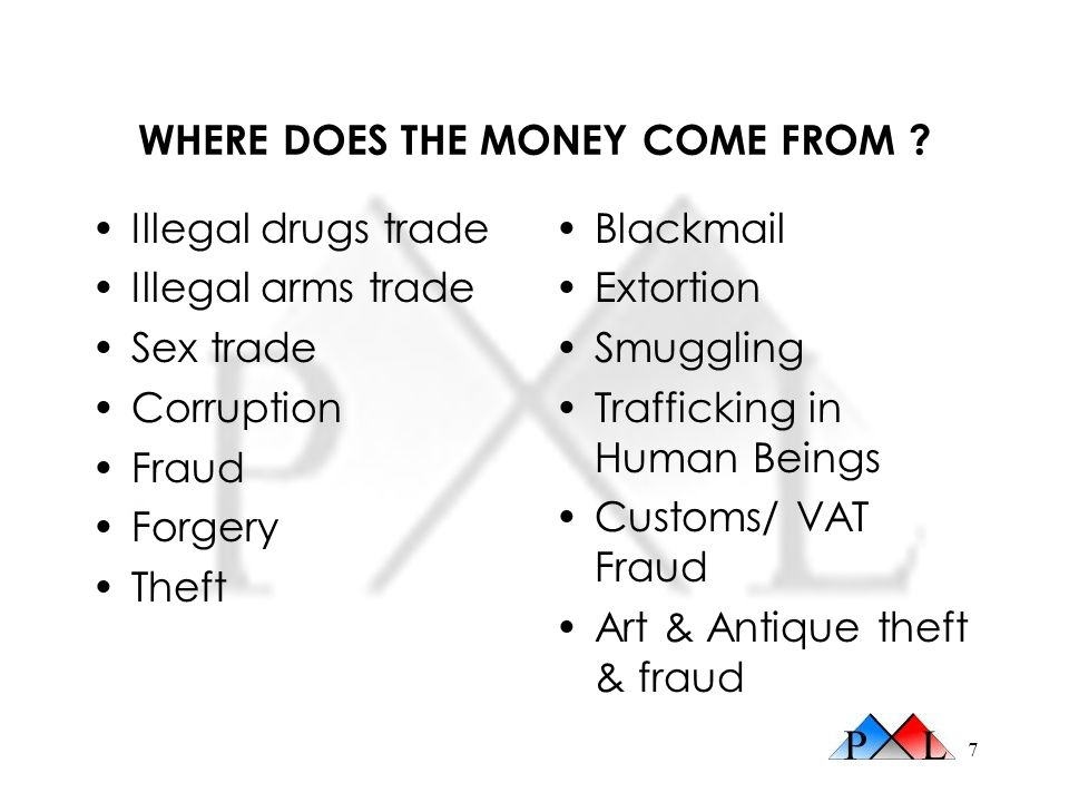 7 WHERE DOES THE MONEY COME FROM ? Illegal drugs trade Illegal arms trade Sex trade Corruption Fraud Forgery Theft Blackmail Extortion Smuggling Traff