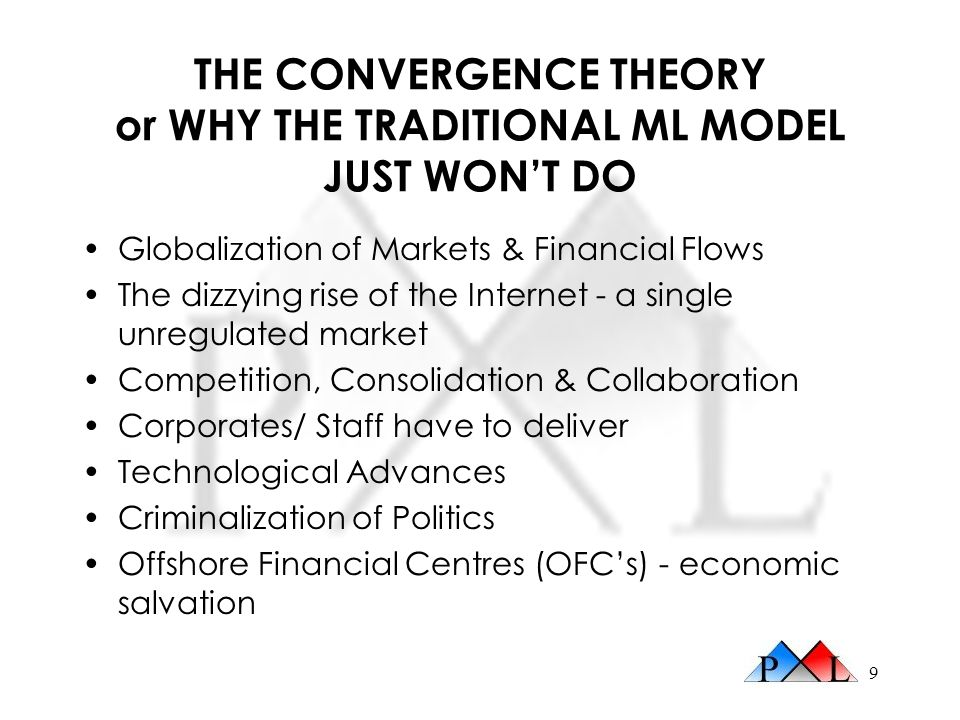 9 THE CONVERGENCE THEORY or WHY THE TRADITIONAL ML MODEL JUST WONT DO Globalization of Markets & Financial Flows The dizzying rise of the Internet - a single unregulated market Competition, Consolidation & Collaboration Corporates/ Staff have to deliver Technological Advances Criminalization of Politics Offshore Financial Centres (OFCs) - economic salvation