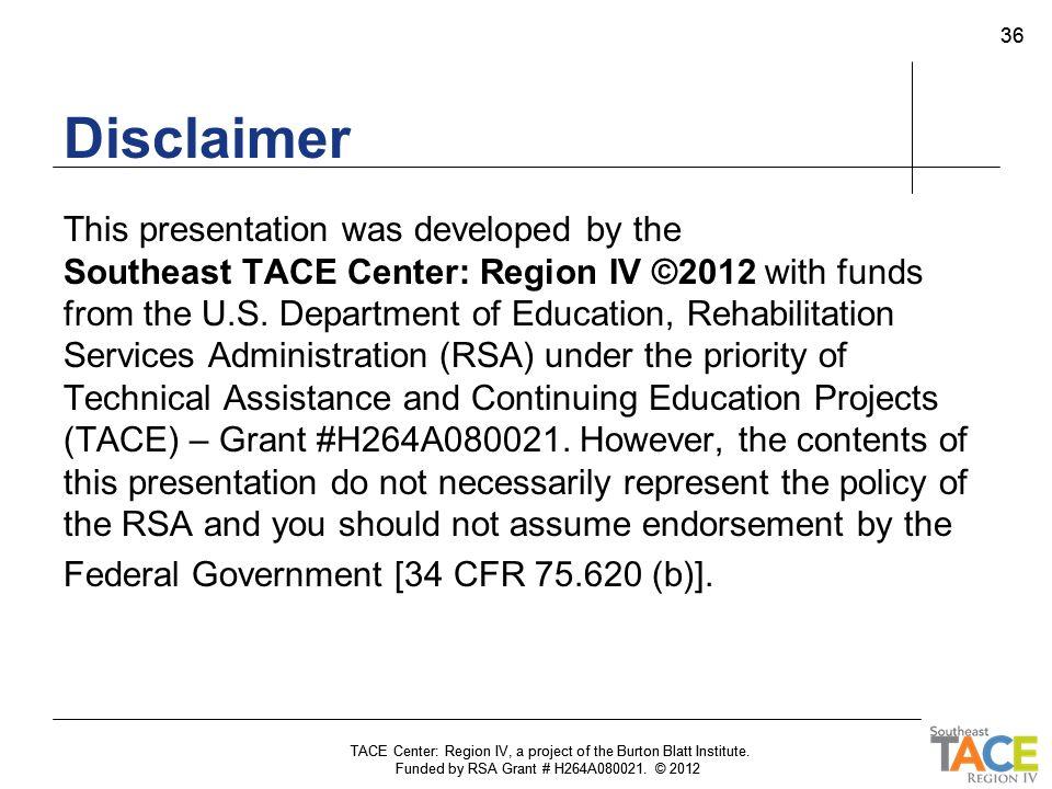 TACE Center: Region IV, a project of the Burton Blatt Institute.