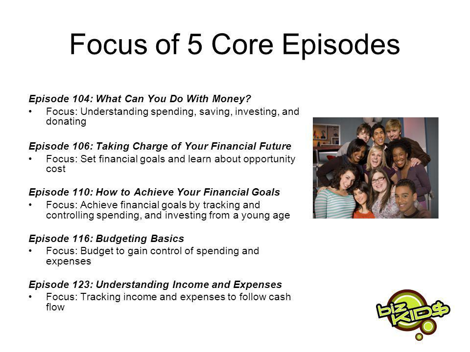 Focus of 5 Core Episodes Episode 104: What Can You Do With Money.
