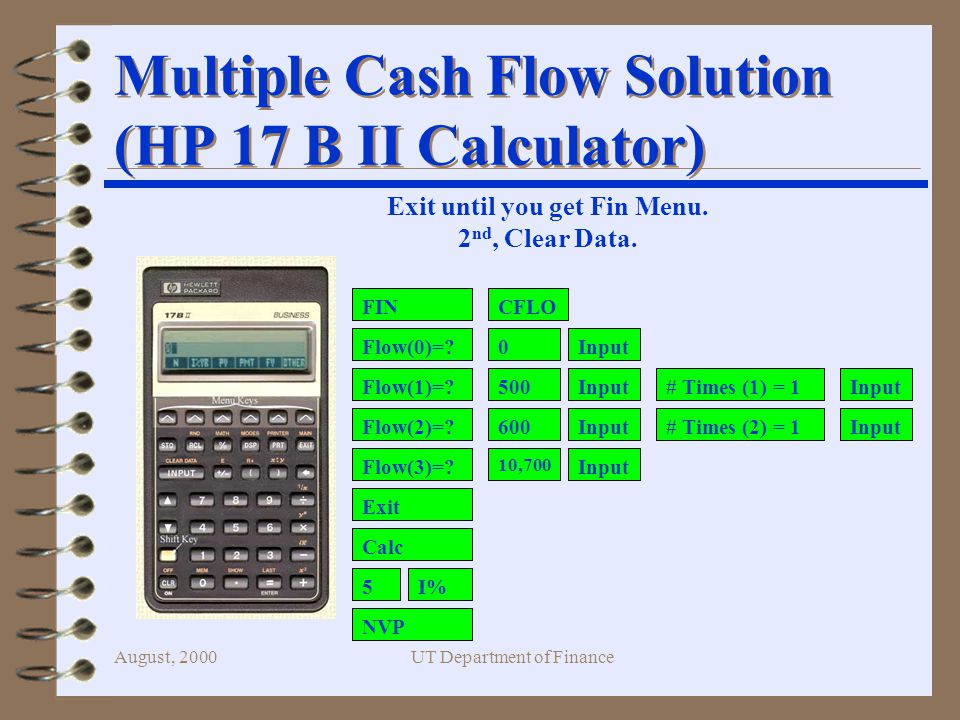 August, 2000UT Department of Finance Multiple Cash Flow Solution (HP 17 B II Calculator) FIN Flow(0)=.