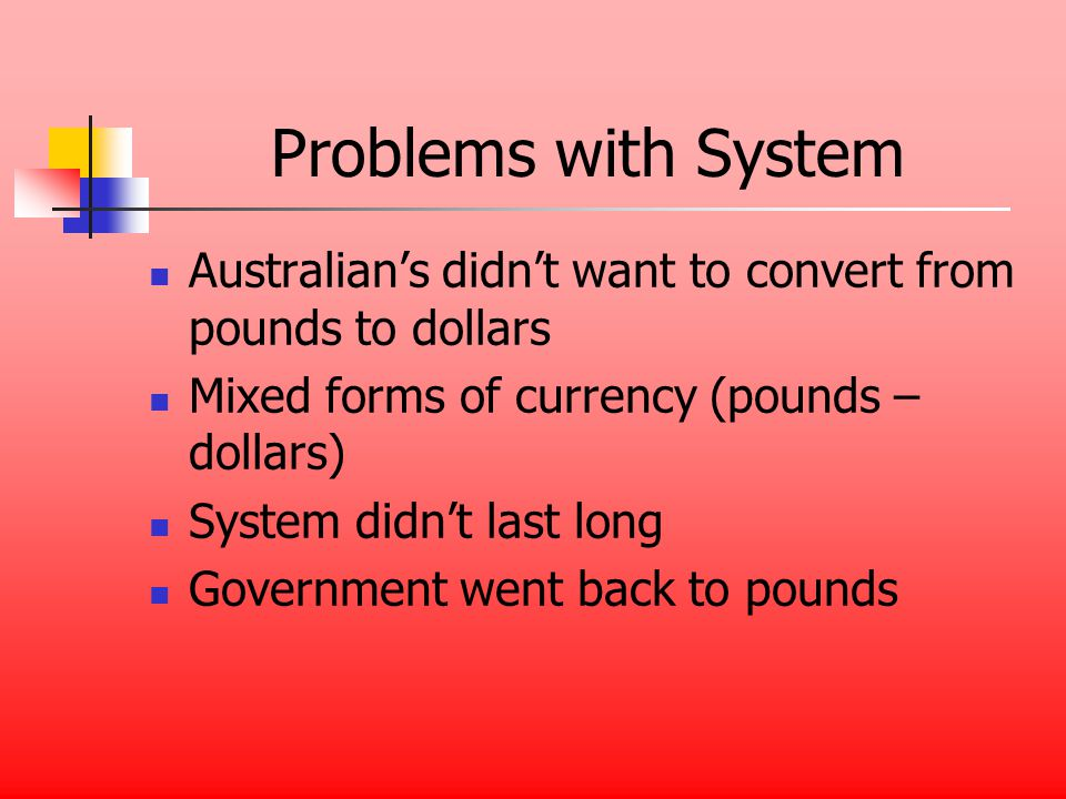 Problems with System Australians didnt want to convert from pounds to dollars Mixed forms of currency (pounds – dollars) System didnt last long Government went back to pounds