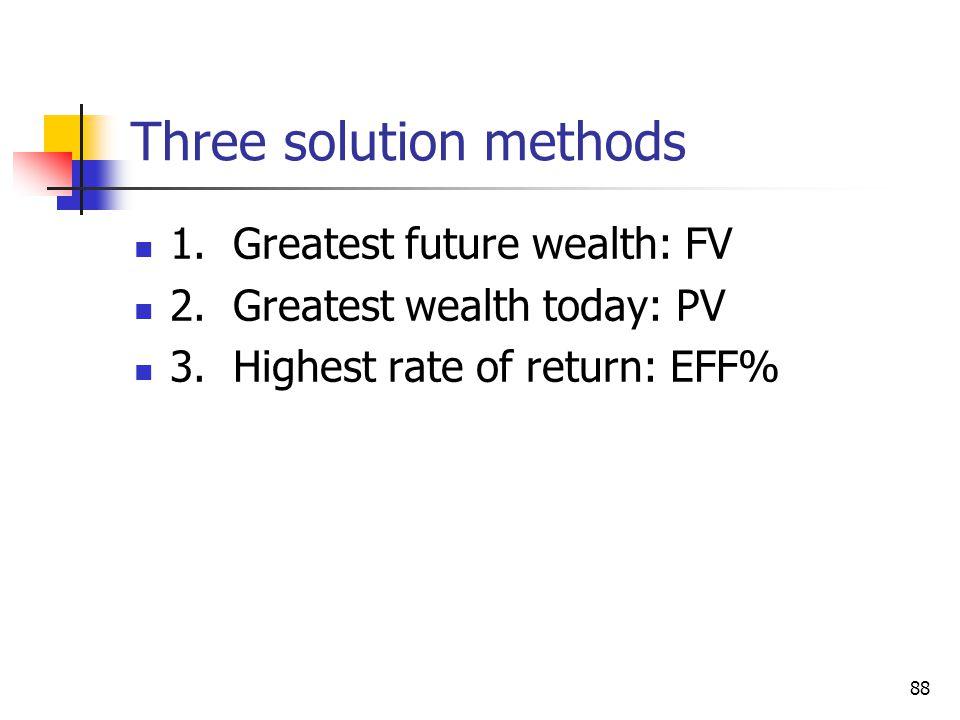 88 Three solution methods 1. Greatest future wealth: FV 2.