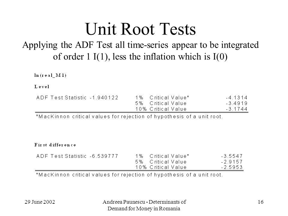 29 June 2002Andreea Paunescu - Determinants of Demand for Money in Romania 16 Unit Root Tests Applying the ADF Test all time-series appear to be integrated of order 1 I(1), less the inflation which is I(0)
