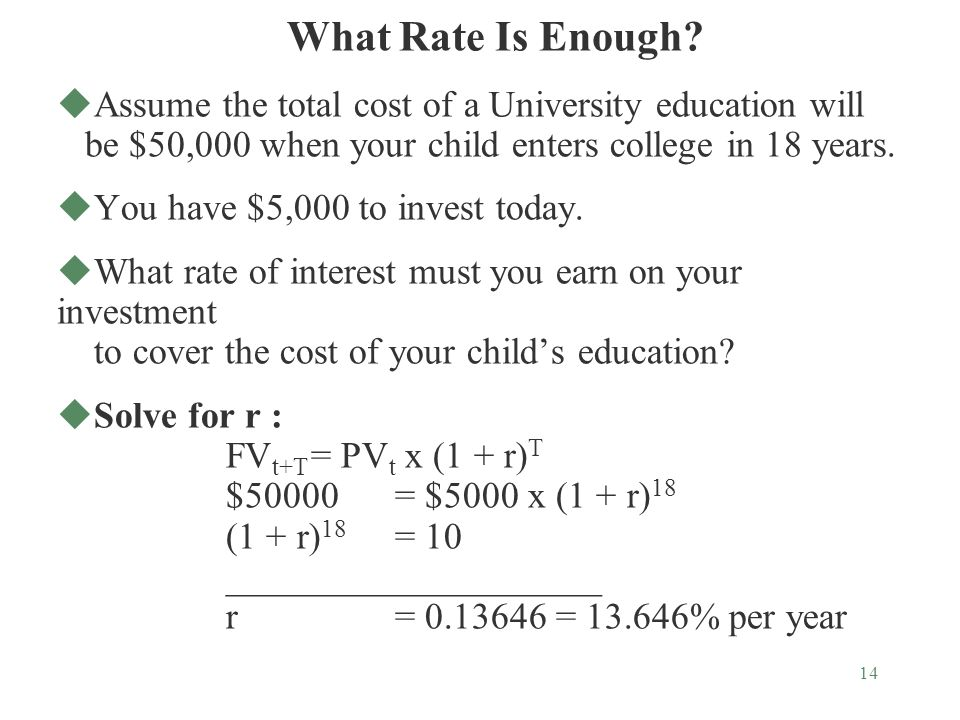 14 uAssume the total cost of a University education will be $50,000 when your child enters college in 18 years.