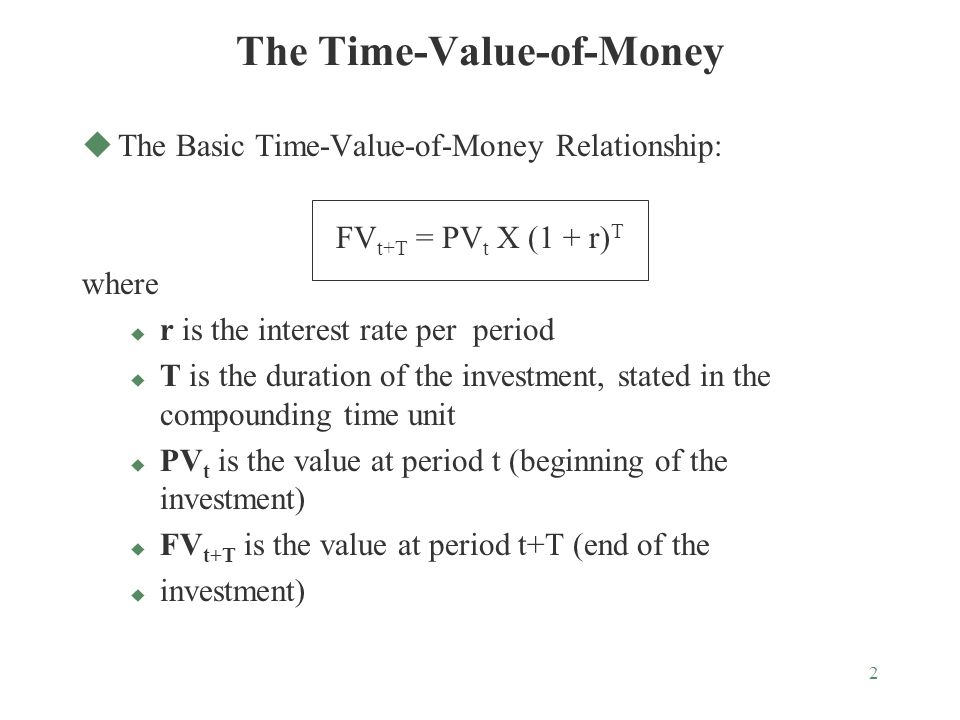 2 The Time-Value-of-Money uThe Basic Time-Value-of-Money Relationship: FV t+T = PV t X (1 + r) T where u r is the interest rate per period u T is the duration of the investment, stated in the compounding time unit u PV t is the value at period t (beginning of the investment) u FV t+T is the value at period t+T (end of the u investment)