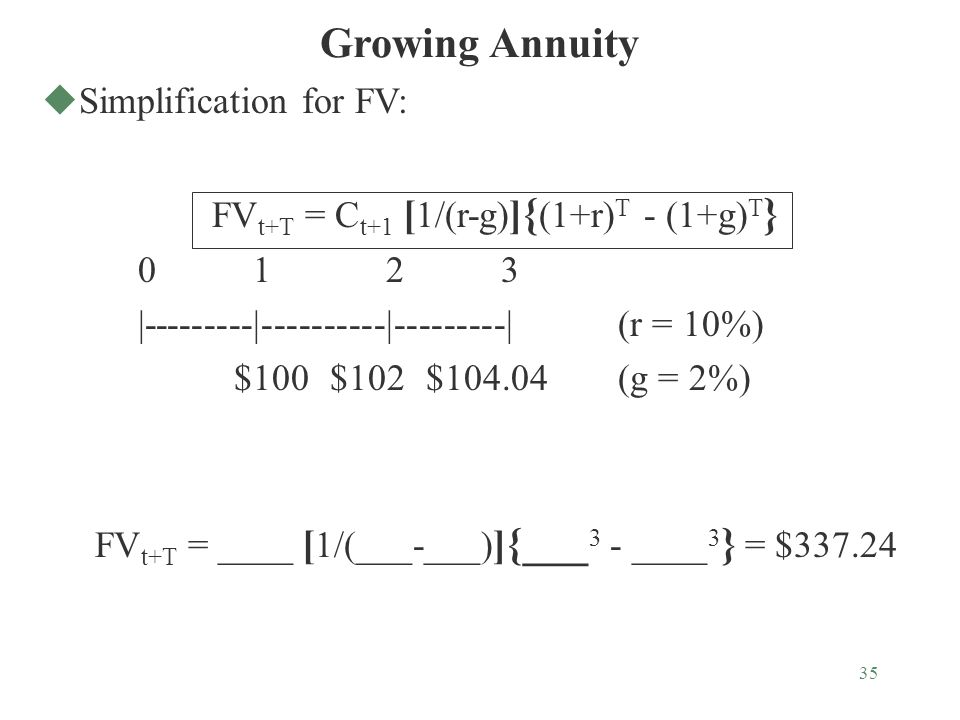 35 Growing Annuity uSimplification for FV: FV t+T = C t+1 [ 1/(r-g) ] { (1+r) T - (1+g) T } 0 1 2 3 |---------|----------|---------|(r = 10%) $100$102$104.04(g = 2%) FV t+T = ____ [ 1/(___-___) ] {___ 3 - ____ 3 } = $337.24