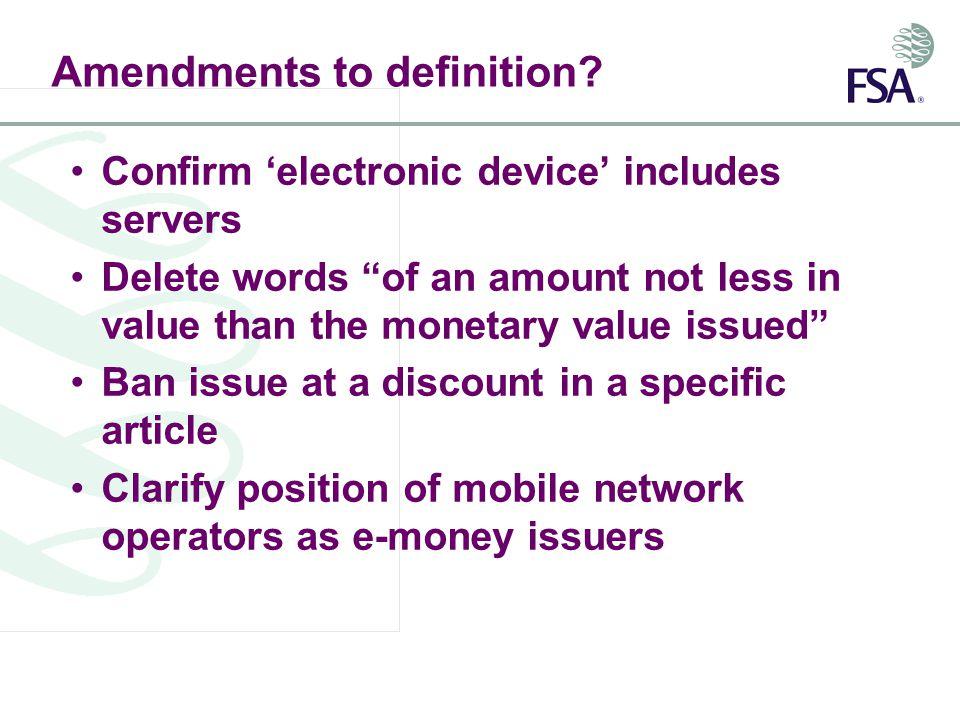 Amendments to definition.
