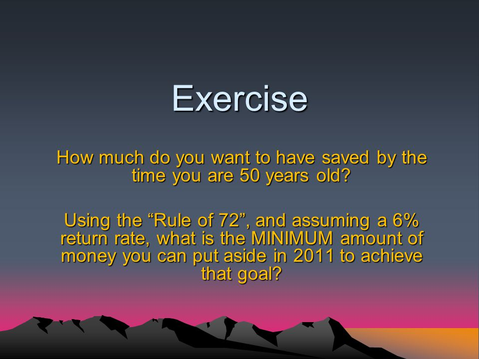 Exercise How much do you want to have saved by the time you are 50 years old.