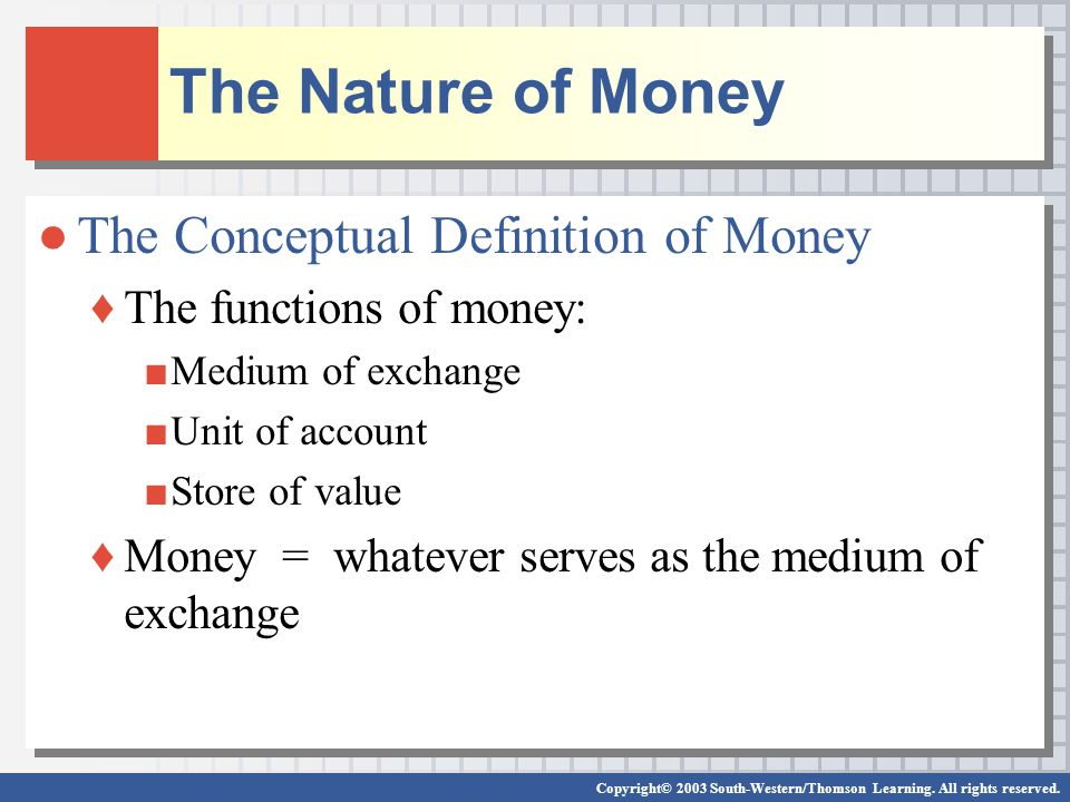 Copyright© 2003 South-Western/Thomson Learning. All rights reserved. The Nature of Money The Conceptual Definition of Money The functions of money: Me