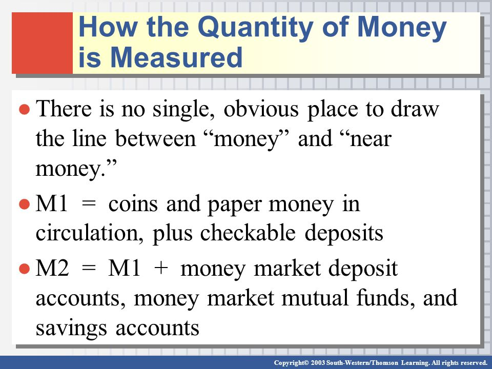 Copyright© 2003 South-Western/Thomson Learning. All rights reserved. There is no single, obvious place to draw the line between money and near money.