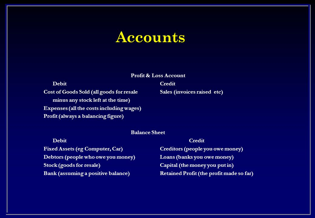 Accounts Profit & Loss Account DebitCredit Cost of Goods Sold (all goods for resaleSales (invoices raised etc) minus any stock left at the time) Expenses (all the costs including wages) Profit (always a balancing figure) Balance Sheet DebitCredit Fixed Assets (eg Computer, Car)Creditors (people you owe money) Debtors (people who owe you money)Loans (banks you owe money) Stock (goods for resale)Capital (the money you put in) Bank (assuming a positive balance)Retained Profit (the profit made so far)
