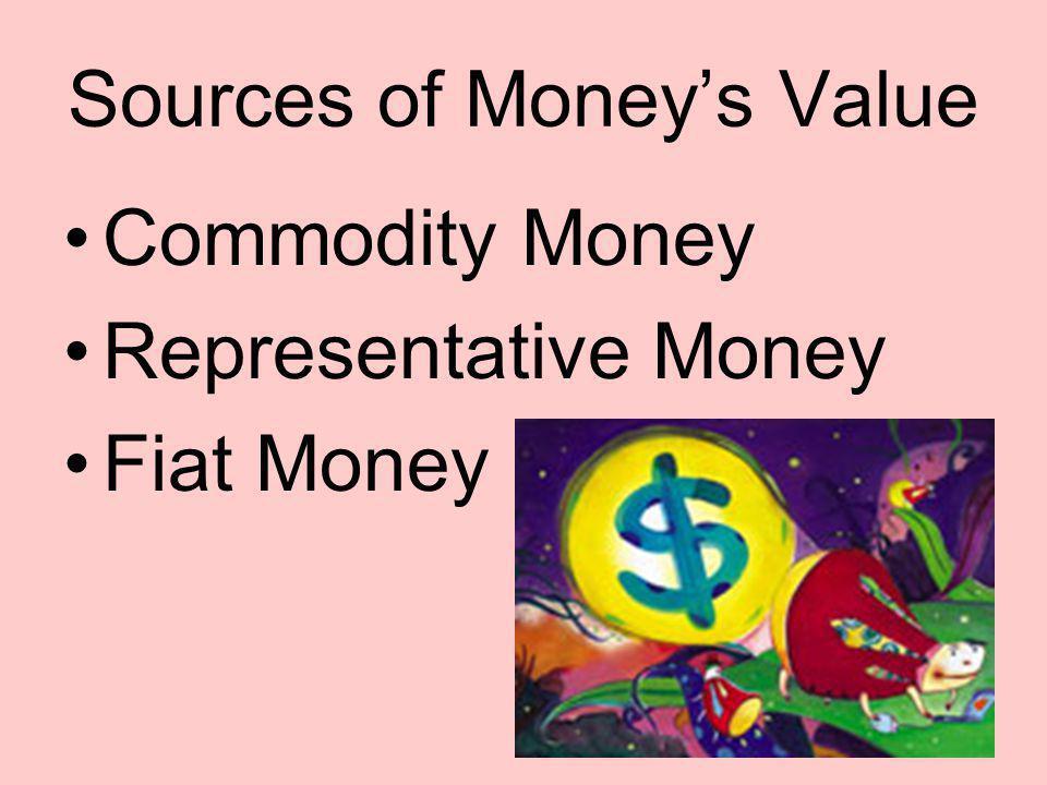 Sources of Moneys Value Commodity Money Representative Money Fiat Money