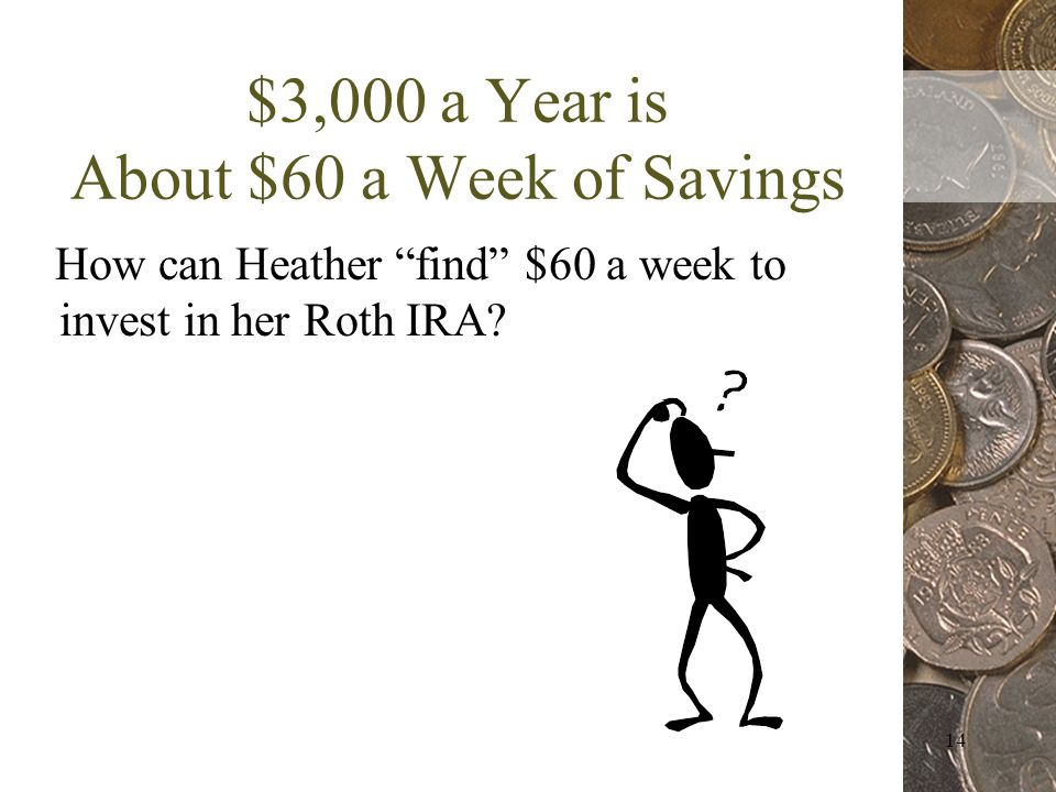 14 $3,000 a Year is About $60 a Week of Savings How can Heather find $60 a week to invest in her Roth IRA