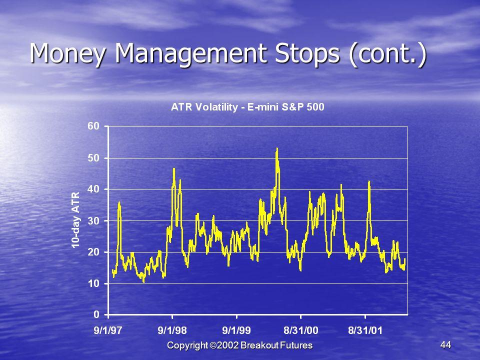 Copyright 2002 Breakout Futures 44 Money Management Stops (cont.)