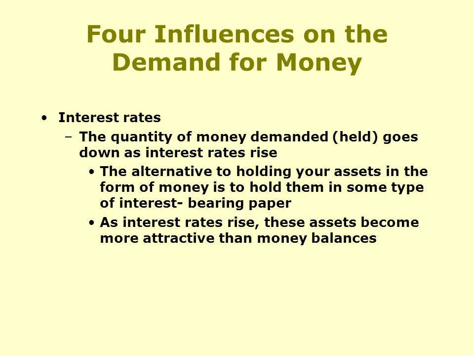 Four Influences on the Demand for Money Interest rates –The quantity of money demanded (held) goes down as interest rates rise The alternative to holding your assets in the form of money is to hold them in some type of interest- bearing paper As interest rates rise, these assets become more attractive than money balances