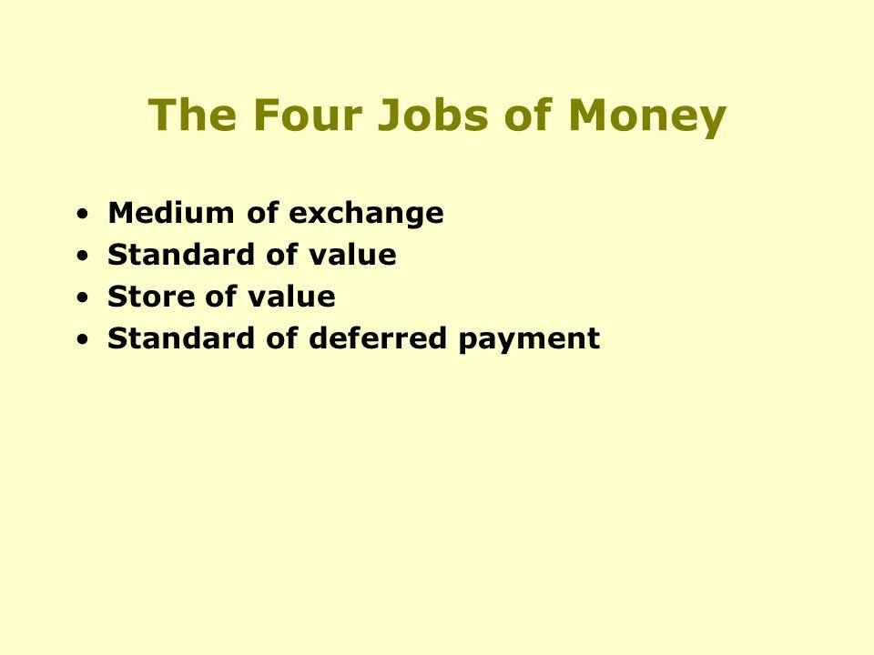 The Four Jobs of Money Medium of exchange Standard of value Store of value Standard of deferred payment