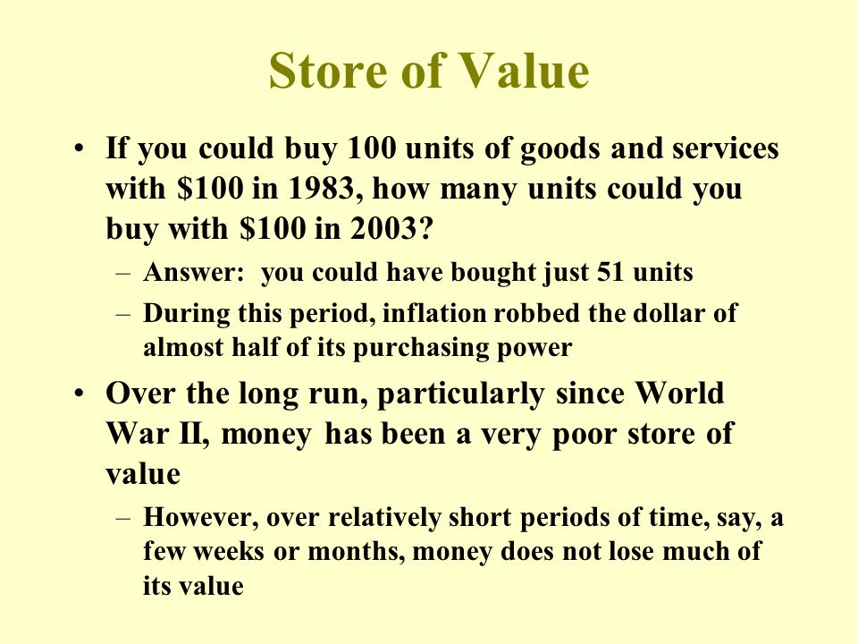 Store of Value If you could buy 100 units of goods and services with $100 in 1983, how many units could you buy with $100 in 2003.