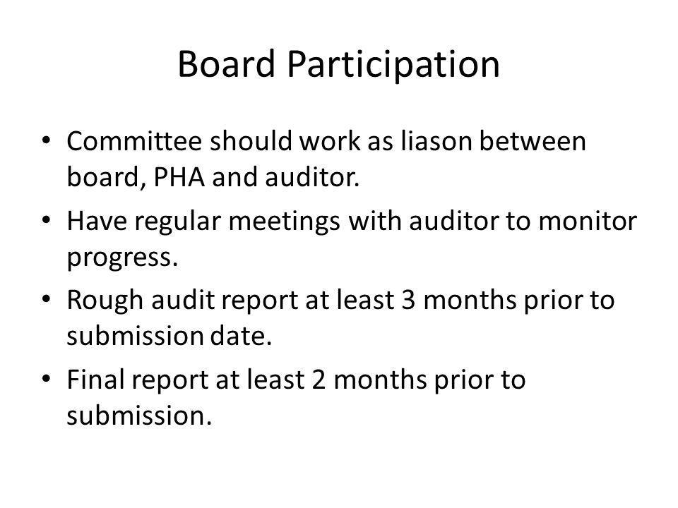 Board Participation Committee should work as liason between board, PHA and auditor. Have regular meetings with auditor to monitor progress. Rough audi