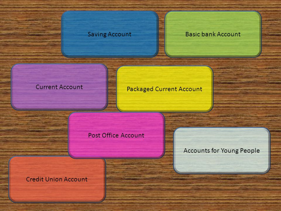 Current Account Basic bank AccountSaving Account Packaged Current Account Credit Union Account Accounts for Young People Post Office Account