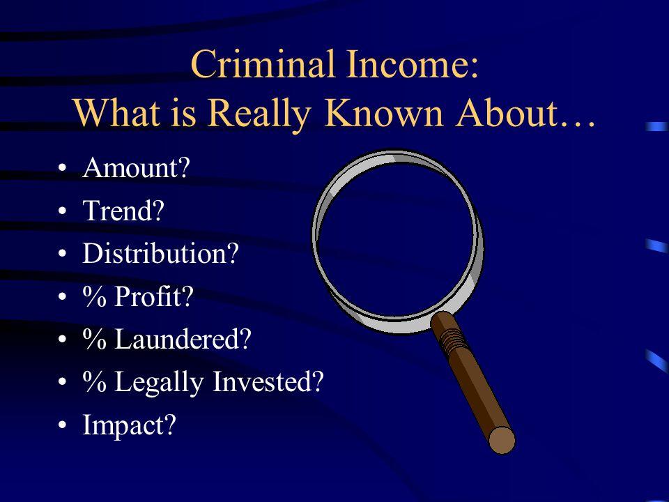 b. A World Awash With Criminal Money. World drug trade: $500 billion per annum.