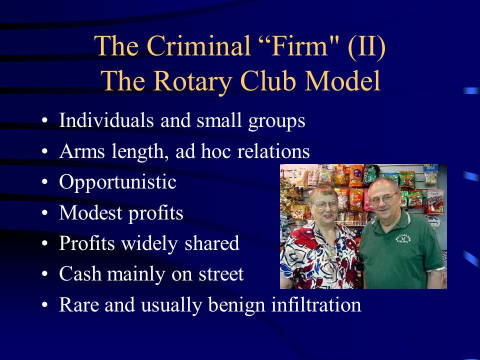 c. The Criminal Firm (I) The Harvard MBA Model Large organizations Hierarchical structures Long term planning Huge profits Profits concentrated Infilt