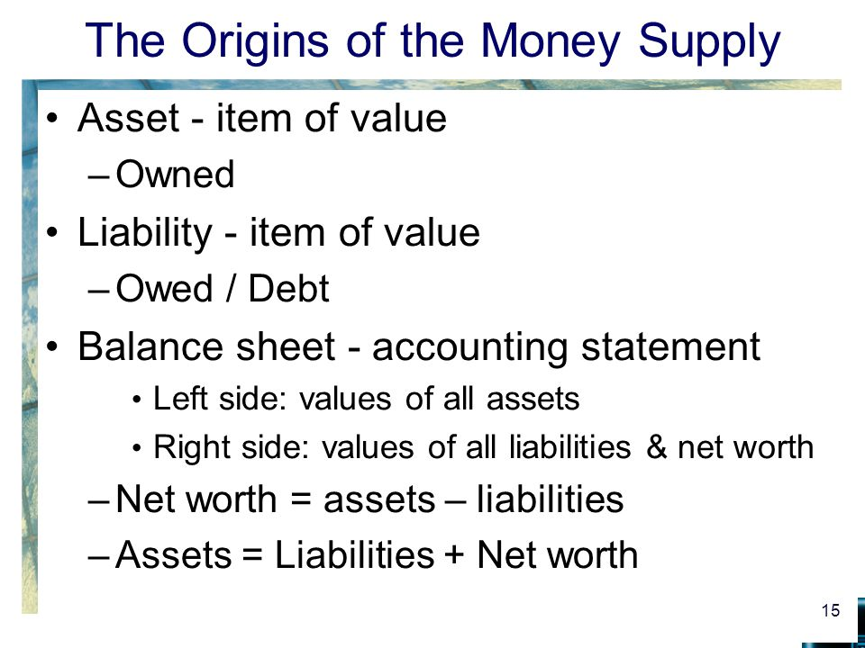 The Origins of the Money Supply Asset - item of value –Owned Liability - item of value –Owed / Debt Balance sheet - accounting statement Left side: values of all assets Right side: values of all liabilities & net worth –Net worth = assets – liabilities –Assets = Liabilities + Net worth 15