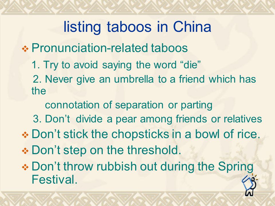 listing taboos in China Pronunciation-related taboos 1.