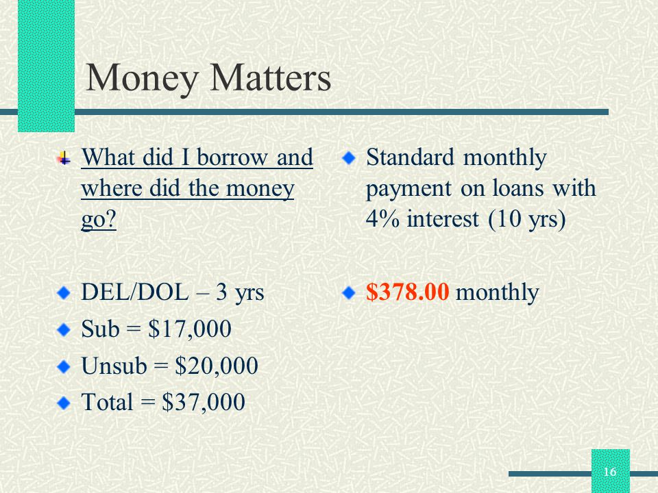 16 Money Matters What did I borrow and where did the money go? DEL/DOL – 3 yrs Sub = $17,000 Unsub = $20,000 Total = $37,000 Standard monthly payment