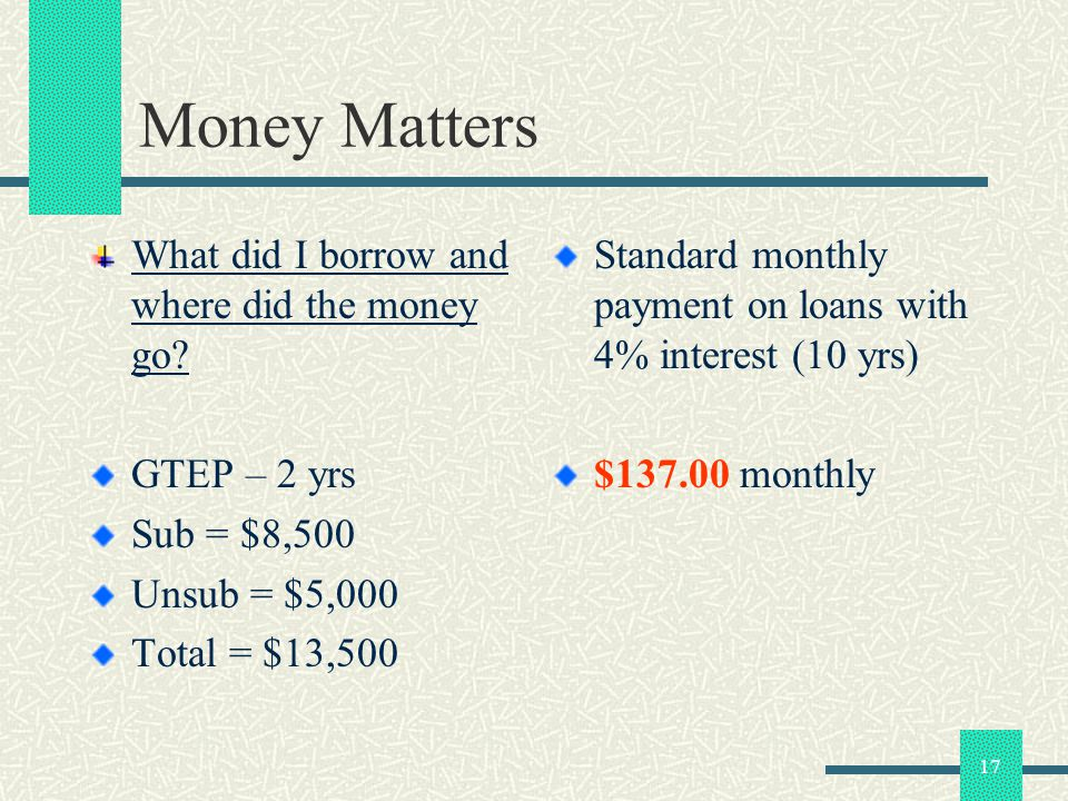 17 Money Matters What did I borrow and where did the money go? GTEP – 2 yrs Sub = $8,500 Unsub = $5,000 Total = $13,500 Standard monthly payment on lo