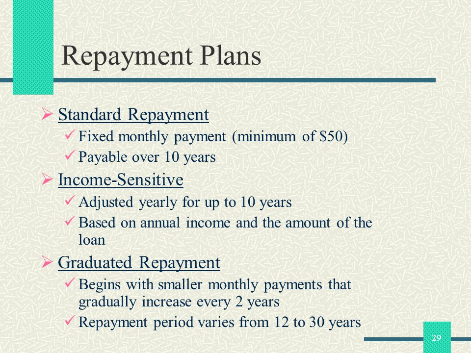 29 Repayment Plans Standard Repayment Fixed monthly payment (minimum of $50) Payable over 10 years Income-Sensitive Adjusted yearly for up to 10 years Based on annual income and the amount of the loan Graduated Repayment Begins with smaller monthly payments that gradually increase every 2 years Repayment period varies from 12 to 30 years