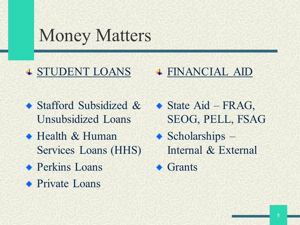 5 Money Matters STUDENT LOANS Stafford Subsidized & Unsubsidized Loans Health & Human Services Loans (HHS) Perkins Loans Private Loans FINANCIAL AID S