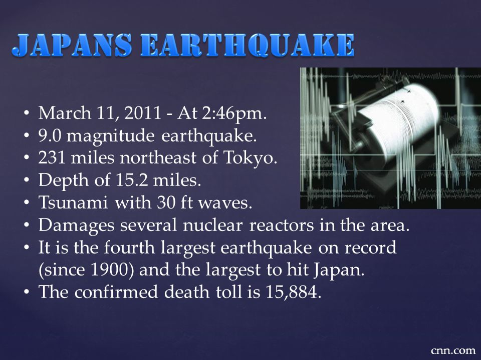 March 11, 2011 - At 2:46pm. 9.0 magnitude earthquake.