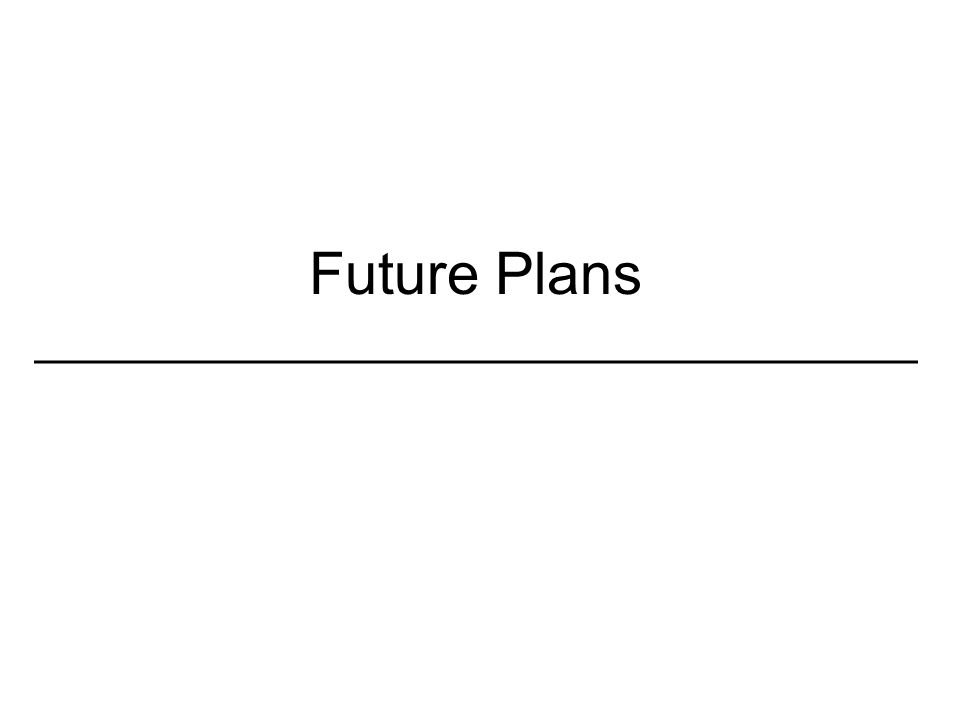 Future Plans _________________________________