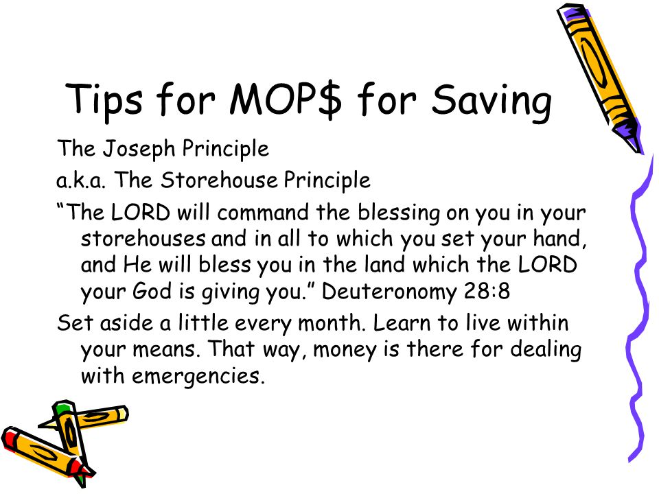 Tips for MOP$ for Saving The Joseph Principle a.k.a.