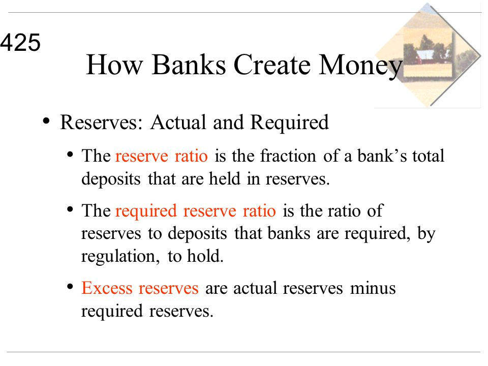 425 How Banks Create Money Reserves: Actual and Required The reserve ratio is the fraction of a banks total deposits that are held in reserves. The re