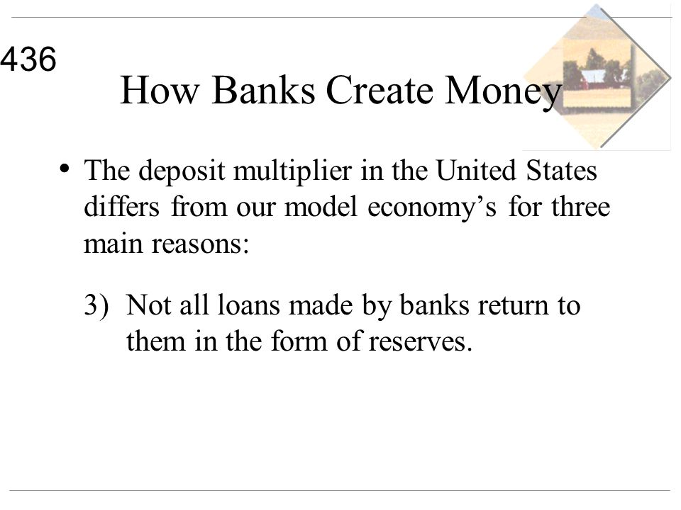 436 How Banks Create Money The deposit multiplier in the United States differs from our model economys for three main reasons: 3)Not all loans made by