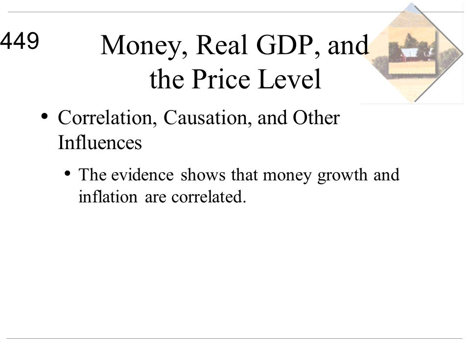 449 Money, Real GDP, and the Price Level Correlation, Causation, and Other Influences The evidence shows that money growth and inflation are correlate
