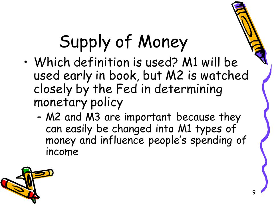 9 Supply of Money Which definition is used? M1 will be used early in book, but M2 is watched closely by the Fed in determining monetary policy –M2 and