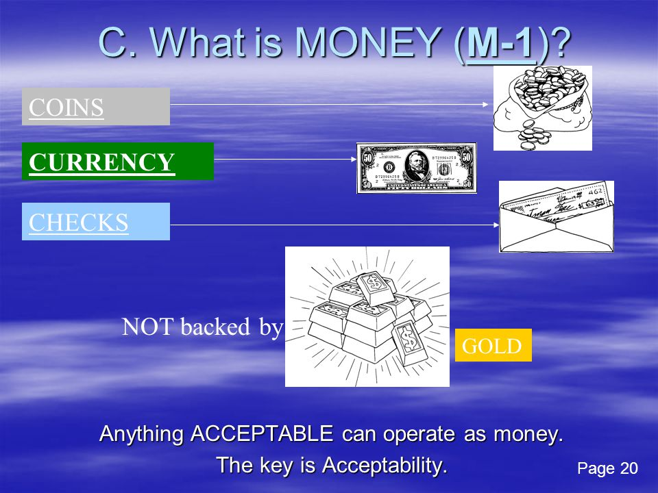 C. What is MONEY (M-1)? Anything ACCEPTABLE can operate as money. The key is Acceptability. GOLD COINS CURRENCY CHECKS NOT backed by Page 20